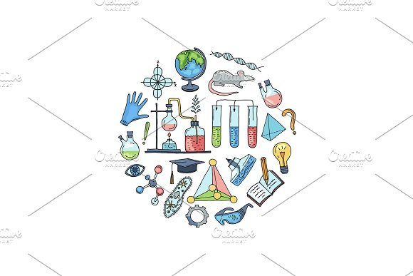Vector Sketched Science Or Chemistry Elements In Form Of Circle Illustration