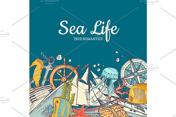Vector sketched sea elements in color background with place for text