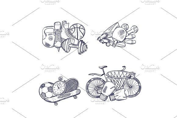Vector hand drawn sports equipment piles set