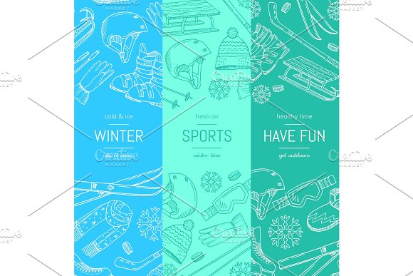 Vector hand drawn winter sports equipment and attributes vertical banner templates