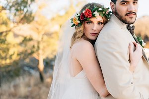Modern bohemian bride on wedding day