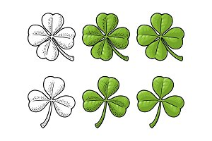Good luck four and three leaf clover. Vintage vector engraving
