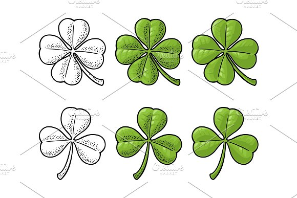 Good Luck Four And Three Leaf Clover Vintage Vector Engraving