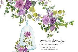 Watercolor Mauve Roses Clipart