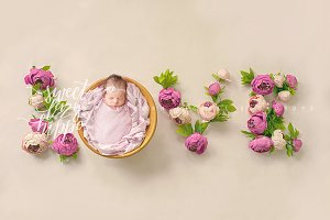 LOVE - Newborn Digital Backdrop