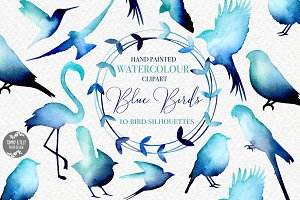 Bird Silhouettes Watercolour Clipart