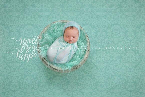 Mint Newborn Digital Backdrop