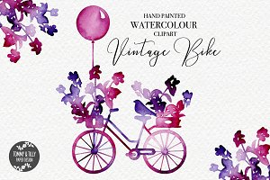 Vintage Bike - Watercolour Clip art