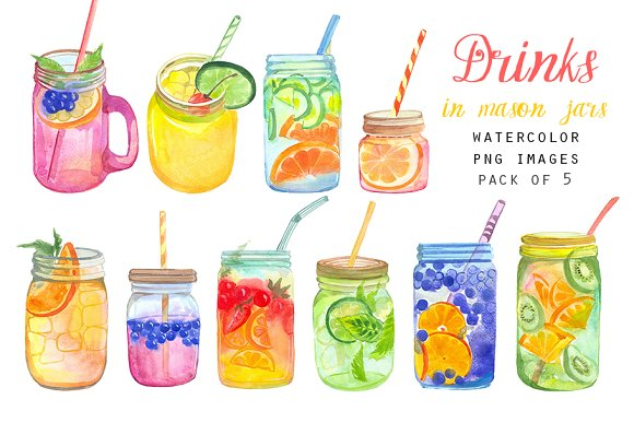 Watercolor drinks in mason jars