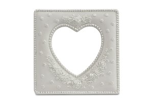 White Heart Shaped Frame Isolated on