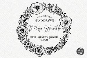 Hand Drawn Wreath - Clipart