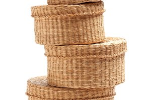 Stack of Various Sized Wicker Basket