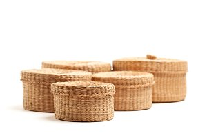 Various Sized Wicker Baskets Isolate