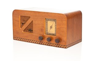 Vintage 1940's Radio Isolated on a W