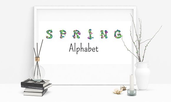 Spring Alphabet in paper cut style