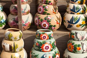 Variety of Colorful Painted Ceramics