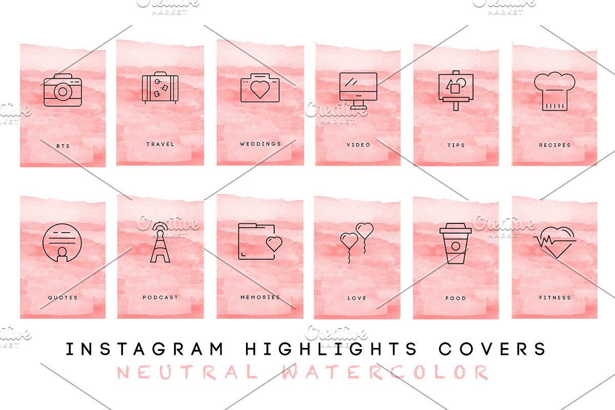 Watercolor Instagram Highlight Cover in Graphics