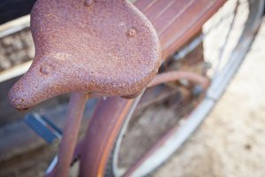 Abstract of Old Rusty Antique Bicycl