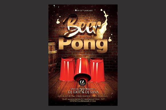 Beer Pong Flyer Templates Creative Market