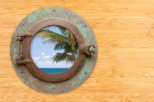 Antique Porthole with Tropical Beach