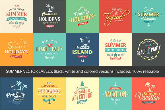 Summer Vector Labels Set Posters