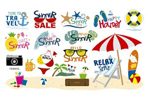 Summer beach travel sign