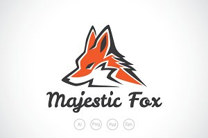 Majestic Orange Fox Logo Template