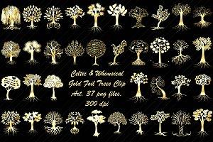 Celtic & Whimsical Gold Foil Trees