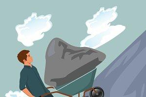 Man pushing stone uphill on wheelbar