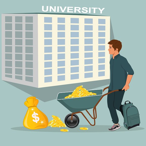 Expensive Education Concept Vector