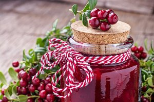 Sweet spicy sauce jam ripe cranberries in a glass