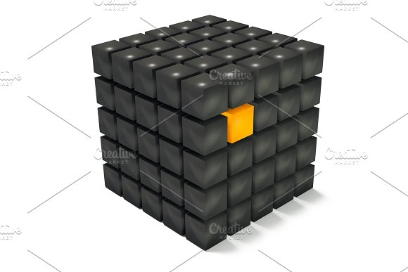 Black Cubes With An Orange One Standing Out 3D Render