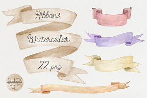 Watercolor ribbons set