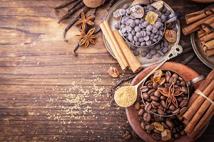 Coffee beans, chocolate drops, vanilla pods, cinnamon sticks, anise stars and brown sugar