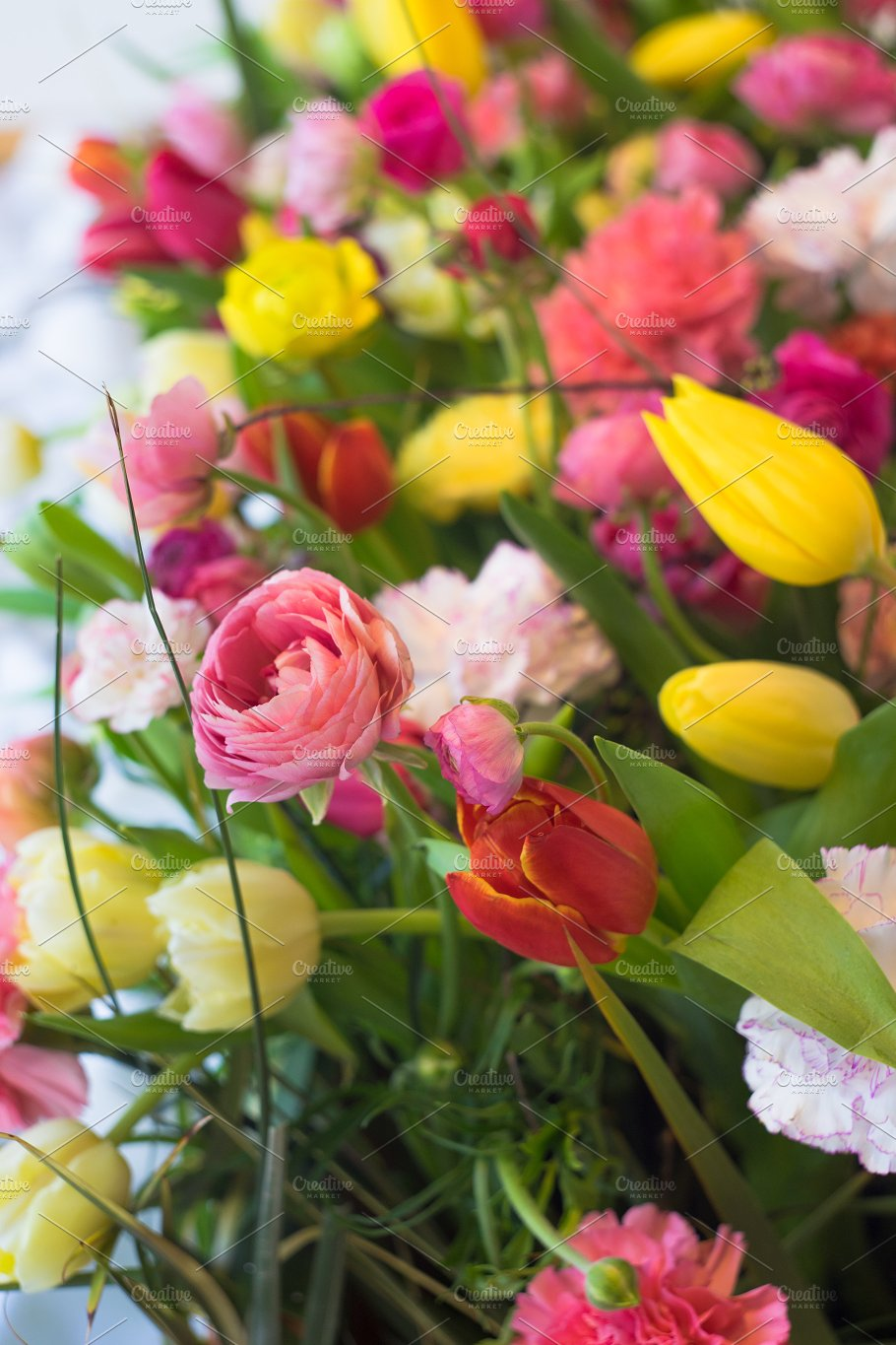 Spring Flowers In A Bouquet Nature Photos Creative Market