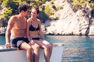 Young Couple On Catamaran