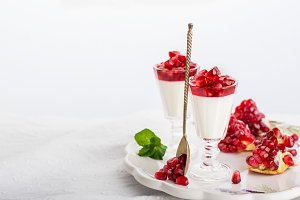 pannacotta  with pomegranate jelly anate syrup