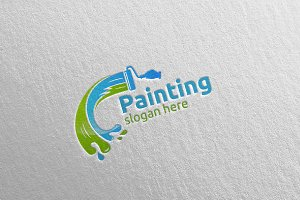 Splash Painting Vector Logo Design