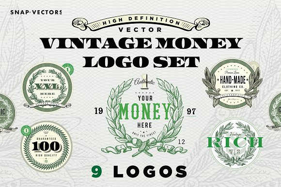 Vector Vintage Money Logo Set