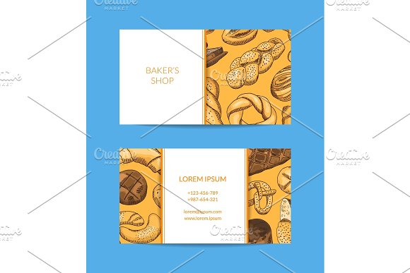 Vector Business Card Template For Shop Delivery With Hand Drawn Bakery