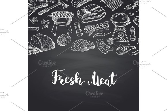 Vector Hand Drawn Meat Elements On Black Chalkboard Illustration With Lettering