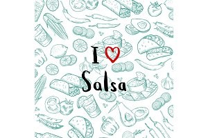 Vector sketched mexican food elements background with lettering