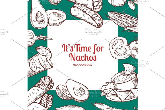 Vector Sketched Mexican Food Elements Background With Place For Text