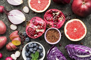 Different vegetables and fruits of purple, pink and purple color for a healthy diet. Vitamin-rich Anthocyanins for blood and cardiovascular system. Color of the year. Top Violet
