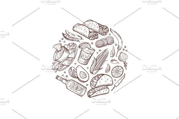 Vector Sketched Mexican Food Elements In Form Of Circle Illustration