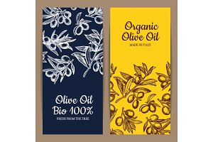 Vector card or flyer template olive branches