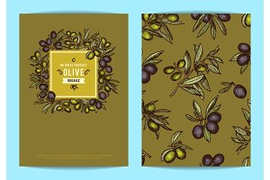 Vector card or flyer template with hand drawn olive branches