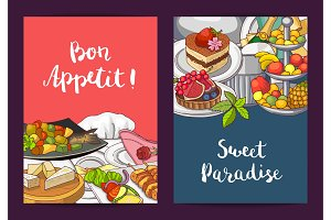 Vector card or flyer templates with hand drawn restaurant