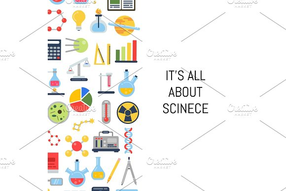 Vector Flat Style Science Icons