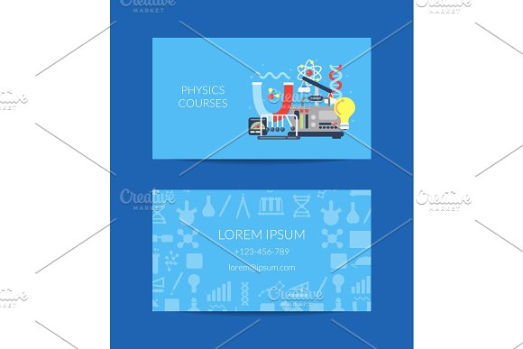 Vector Business Card For Science Lab With Flat Style Science Icons